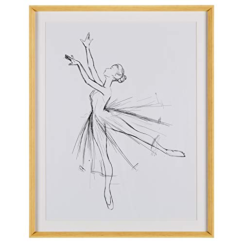 Rivet Modern Sketch of Dancer with Clean White Background, 39.42''H x 31.42''W x 2.27''D including Simple Maple Frame by Rivet (Image #1)