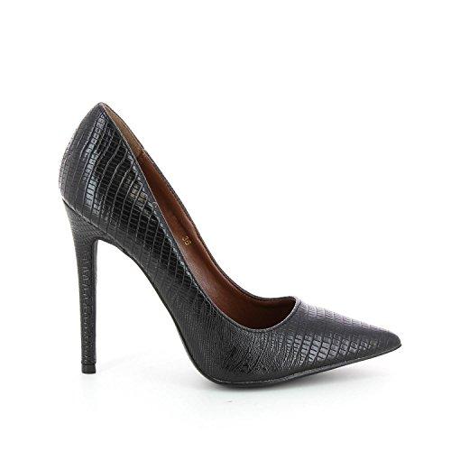 Sandalias stiletto punta con orificio, diseño de piel de serpiente Negro - negro