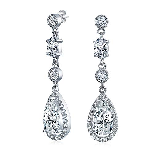 - Cubic Zirconia CZ Teardrop Long Dangle Chandelier Prom Pageant Statement Earrings For Women 925 Sterling Silver
