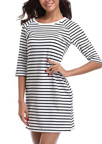 - Dilgul Striped Dress Half Sleeve Dresses for Women Scoop Neck Casual T-Shirt Dress Black and White Medium