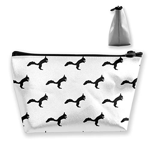 Makeup Bag Cosmetic Squirrel Animal Black Portable Cosmetic Bag Mobile Trapezoidal Storage Bag Travel Bags with Zipper ()