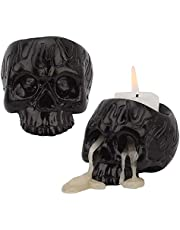 OURASHERO Skull Candle Holder Pack of 2 Crown Skeleton Skull Candlestick Holder Tealight Cup Resin Candlestick Crafts for Home Party Halloween Christmas Decorative Themed Spooky Bar Decoration