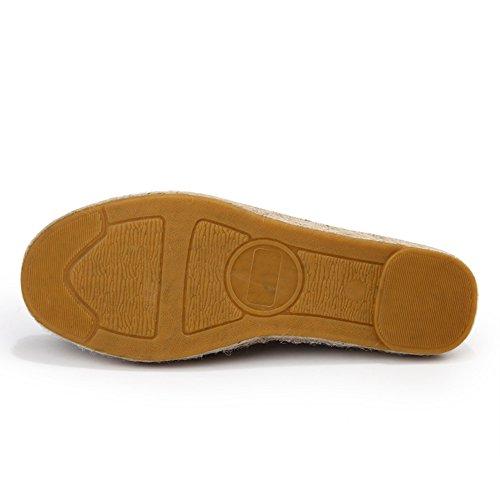 Fereshte Unisexe Couple Femme Confort Toe Toile Toe Slip-on Plate-forme Plate Espadrilles Rouge Lin