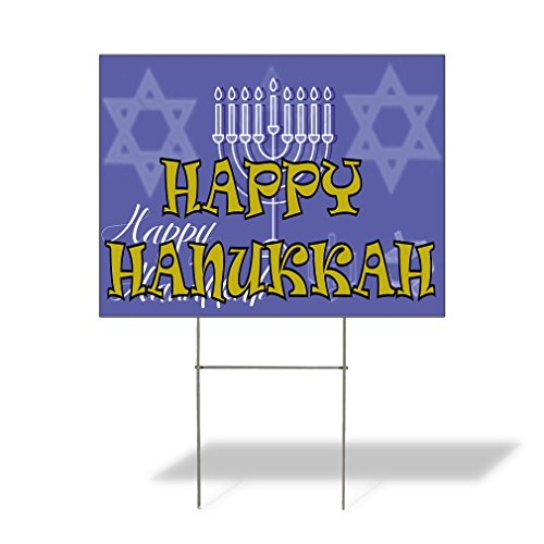 Plastic Weatherproof Yard Sign Happy Hanukkah #1 Candles Celebration Red Hannukah for Sale Sign Multiple Quantities Available 18inx12in One Side Print One Sign]()