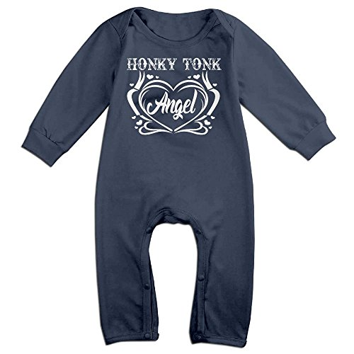 [Baby Infant Romper Honky Tonk Angel Country Music Long Sleeve Playsuit Outfits Navy 12 Months] (Angel Pajama Infant & Toddler Costumes)