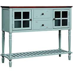 Farmhouse Buffet Sideboards Knocbel Farmhouse Console Table Buffet Sideboard with 2 Storage Drawers, 2 Glass Door Cabinets & Spacious Bottom Shelf… farmhouse buffet sideboards