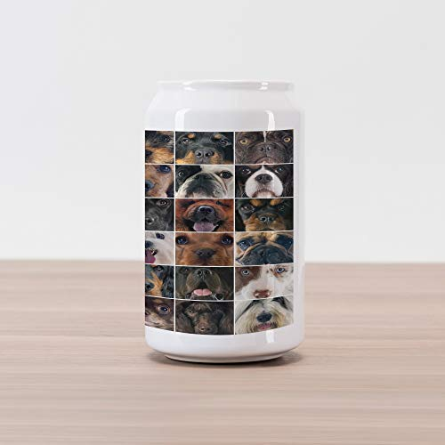 Lunarable Dog Lover Cola Can Shape Piggy Bank, Dogs in Studio Chihuahua Chow Chow Cocker Spaniel Poodle Purebred Sheepdog Print, Ceramic Cola Shaped Coin Box Money Bank for Cash Saving, - Bank Cocker Spaniel Dog