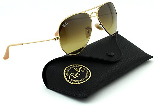 Ray-Ban RB3025 Aviator Large Metal Gradient Unisex Sunglasses (Matte Gold Frame/Brown Gradient Lens 112/85, - Ray Aviators Brown Lens Gold Frame Ban Gradient
