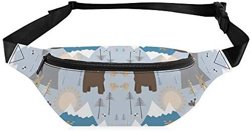 山のクマ ウエストバッグ ショルダーバッグチェストバッグ ヒップバッグ 多機能 防水 軽量 スポーツアウトドアクロスボディバッグユニセックスピクニック小旅行