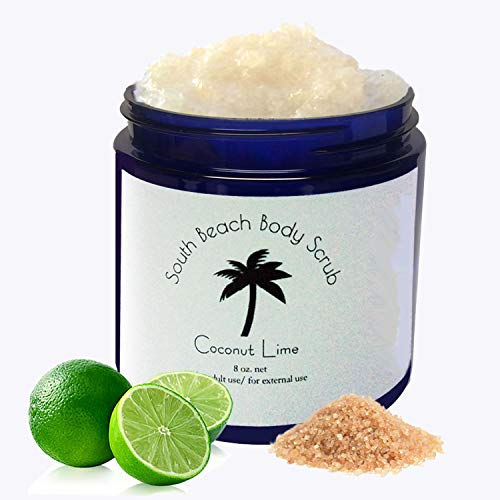 Scented Accented South Beach Body Scrub Coconut Lime 8 oz Key Lime Infused Essential Oil AllNatural Blended Body Scrub Body Polish Vegan CrueltyFree Gentle Skin Cell Exfoliating Made in USA