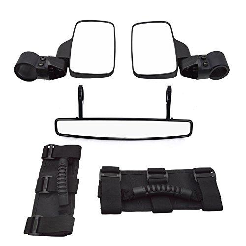 (Dasen 1.5 Inch Wide Rear View Convex Mirror UTV Side Rear View Mirrors w/Grab Handle Set Fit Yamaha Viking Ace Rhino Wolverine YXZ Roll Cage)