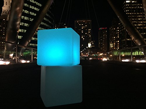 "Outdoor LED Light Cube 16"" - Waterproof IP68 Rated,Charge By Induction,Cordless with remote control."