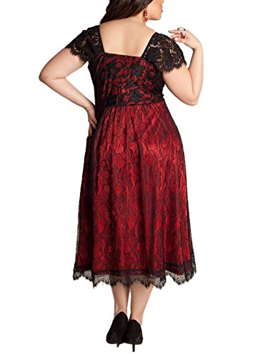 WANTU Womens Gothic V-neck Empire Waist Lace Party Midi Dress (US 22-24, red)