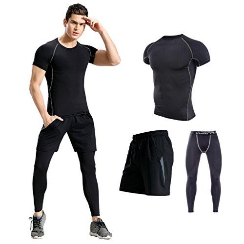 供給言語突破口コンプレッションウェア メンズ 半袖 ハーフパンツ タイツ 3点セット トレーニング スポーツウェア 吸汗速乾