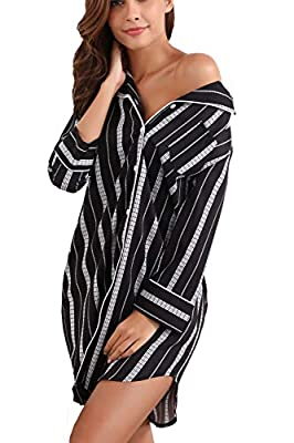 Memory baby Women's Boyfriend Sleep Shirt Dress Striped Button Down Cotton Nightgown Pajama Duster S-XXL
