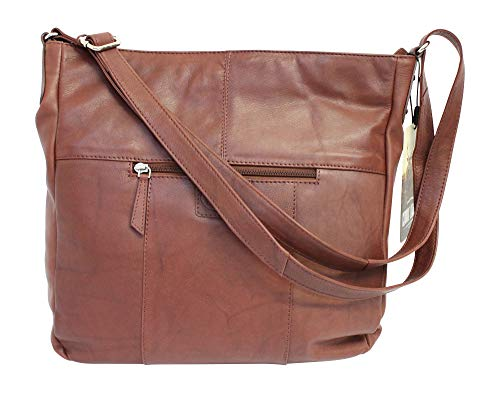 Rowallan Nambia Tan Brown Curved Rounded Zip Top Hobo Shoulder Handbag Purse ()
