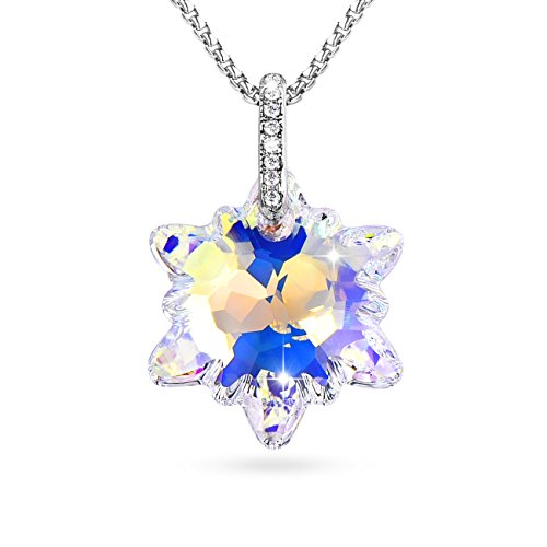 Alantyer Snowflake Aurora Borealis Edelweiss Pendant Necklace Gifts for Women Made with Swarovski Crystals