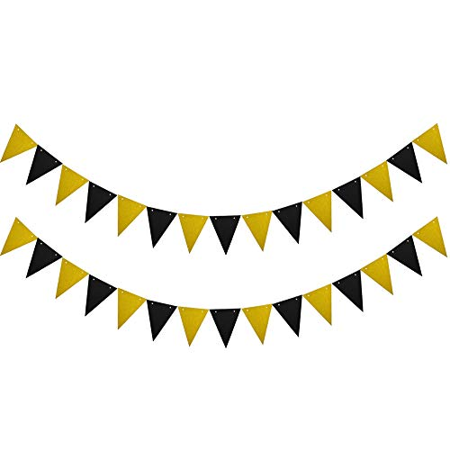 (Lacheln Paper Banner Flags Triangle Garland Pennant Banner for Wedding, Baby Shower, Event & Party Supplies,Christmas Decor,30 Pcs (Glitter Gold+Black))