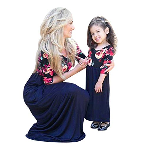 Kehen Parent-Child Outfit,Mommy and Me Floral Half Sleeve Maxi Dress Stitching Dress Family Matching Costume (Blue (Girls), -
