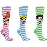 Powerpuff Girls Socks (3 Pair) - Knee High Socks - Fits Shoe Size: 4-10 (Ladies)