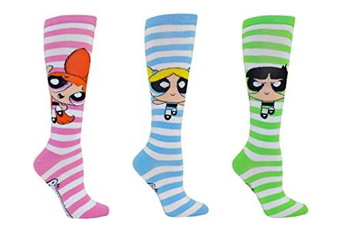 Powerpuff Girls Socks Gifts (3 Pair) - (Women) Powerpuff Girls Costume Blossom, Bubbles, Buttercup Knee High Socks - Fits Shoe Size: 4-10 (Ladies)