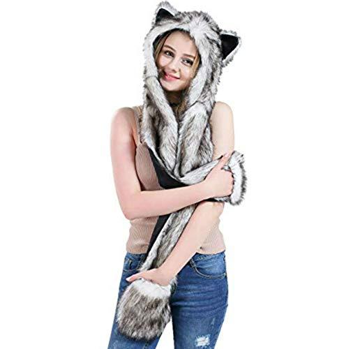 Gray Grey Faux Fur Animal Spirit Hood Anime Scarf Mittens Gloves Scarf 3 in 1 Zipper Pocket ()