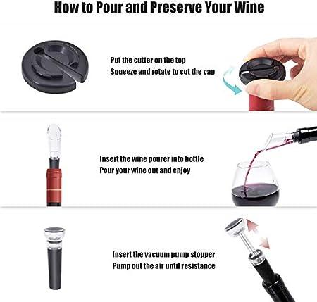 Kit sacacorchos eléctrico 4 en 1, sacacorchos automático que contiene cortador de papel de aluminio, tapón de vacío y vertedor de aireador de vino