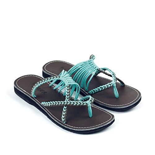 Plaka Flip Flops Slide Sandals For Women By Turquoise Gray