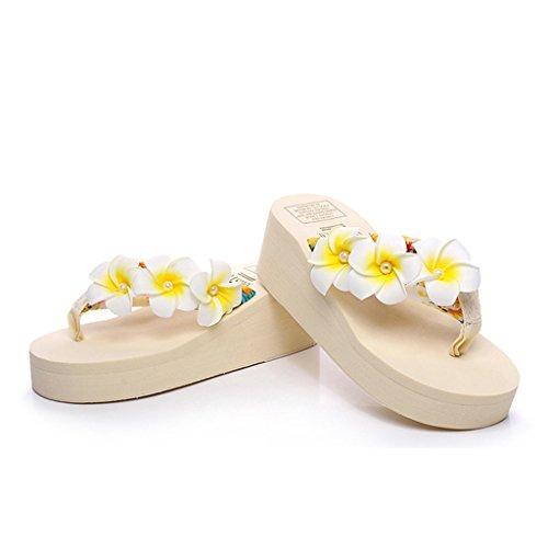 ... Eagsouni Damen Plateau Sandalen Plattform Flip Flops, Sommer Mädchen  Blume Keilabsatz Hausschuhe Beige