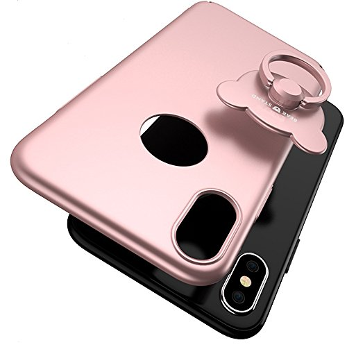 Cool Cute Rosegold iPhone X Case With Free Phone Finger Ring Kickstand Holder Heavy Duty Dual Layer Shockproof 3d Clear Phone Thin Rose Gold Case for Teens Boys Men Girls Women (IPHONEX ROSEGOLD