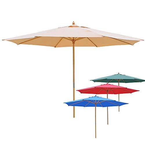 13ft XL Outdoor Patio Umbrella w/ German Beech Wood Pole Beach Yard Garden Wedding Cafe Garden (Blue) by Yescom