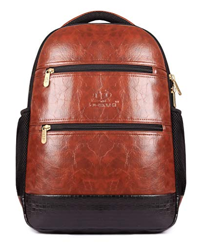 Unisex Brown Leather - The Clownfish Jovial 27 litres Faux Leather 15.6 inch Laptop Backpack | Laptop Bag | Travel Backpack | Casual Backpack | School Bag (Brown)