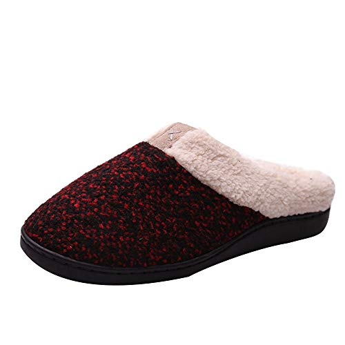 (【MOHOLL 】 Men Women Comfort Slip On Memory Foam Slippers French Terry Lining House Shoes Outdoor Slippers Red)