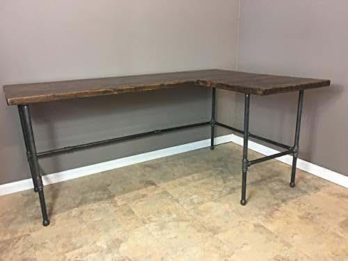 Amazon Com Modern Industry L Shape Reclaimed Wood Desk W