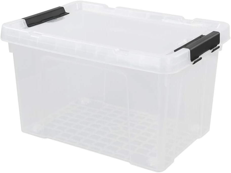 Vareone Caja Transparente de Almacenaje Plástico con Tapa Y ruedas ...