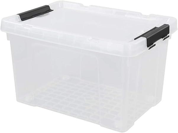 Vareone Caja Transparente de Almacenaje Plástico con Tapa Y ruedas, 41 cm x 29,9 cm x 24,5 cm, Paquete de 1: Amazon.es: Hogar