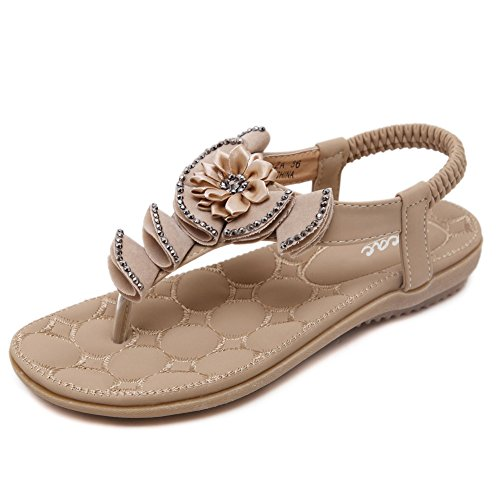 3a391c20cd0 Zicac Women s Flower Rhinestone Thong Sandals Summer Beach Clip Toe Sandals  Shoes best