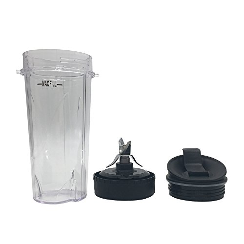 Nutri Blender Pro Extractor Blades and 16oz.Cup with Sip & Seal Lid for Nutri Ninja Blender /BL770/BL771/BL773CO, Replacement Blade Assembly for Nutri Ninja BL660/BL663/BL663CO/BL665Q -COLOR IS BLACK Blender Lid Assembly