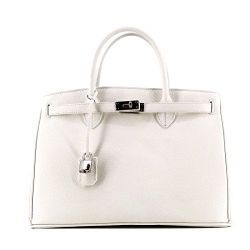 35 Silver Tote DÉFECTUEUX cm Tofu Bag ROUVEN cuir 35x26x18 Shopper blanc Sac crème à Medium main Icone en Business zwdwCqRnU