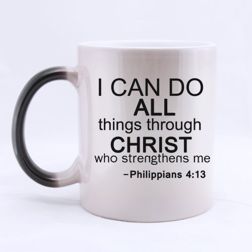 Halloween's Day Gifts Bible Quotes I can do all things through christ who strengthens me-Philippians 100% Ceramic 11-Ounce Morphing Mug -