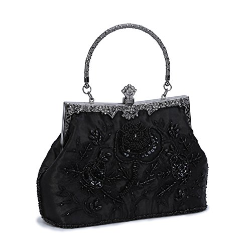 Chichitop Women's Embroidered Beaded Sequin Evening Clutch Large Wedding Party Purse Vintage Bags (Black) by Chichitop