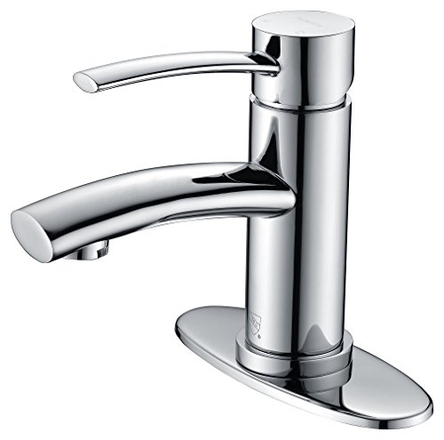 Purelux Bellona Contemporary Design One Handle Bathroom Sink Faucet with Deck Plate, cUPC NSF Lead Free Certified, Chrome