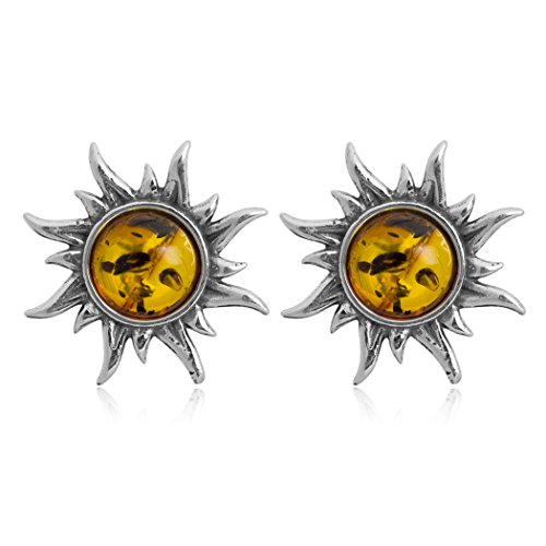 Sterling Silver Amber Sun Stud Earrings
