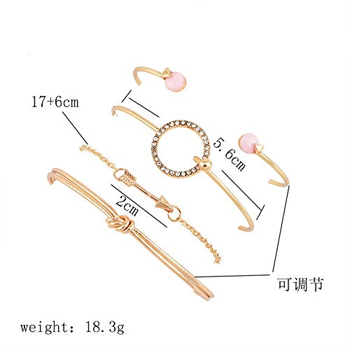 4 Pcs Women Rhinestone Circle Arrow Knot Opening Bracelet Set Chain Cuff ()