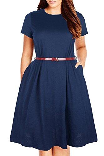 Nemidor Women's Plain Simple Pocket Loose Plus Size Casual Dress (24W, Navy)
