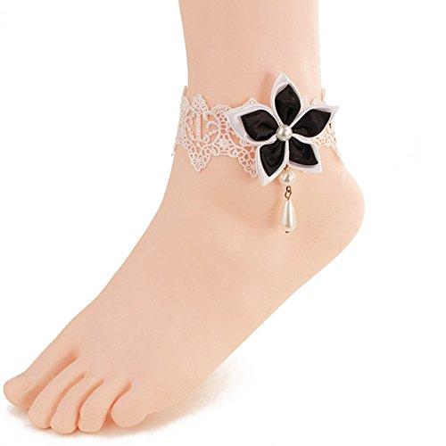 Wowlife negro chino Redbud flor encaje tobillo anillo pie sandalia playa boda tobillo pulsera mujeres chicas pulsera para el tobillo
