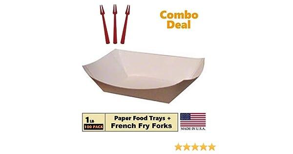 Bandeja de papel para alimentos, 1 lb Kraft Nacho, amigos, perros de maíz caliente, saca el barco, contenedor: bandeja de cartón resistente a la grasa, 100 bandejas + 50 tenedores de freír