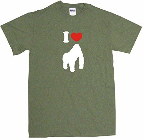 I Heart Love Gorilla Little Boy's Kids Tee Shirt 3T-Olive
