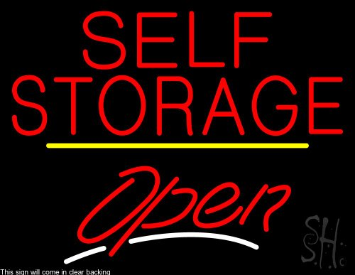 Self Storage Script2 Open Yellow Line Clear Backing Neon Sign 24'' Tall x 31'' Wide by The Sign Store