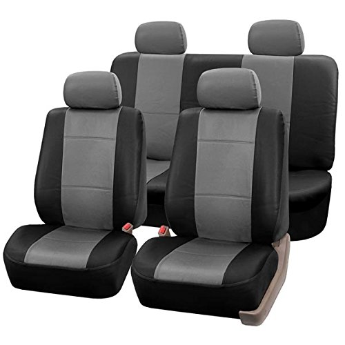 FH Group PU001114 Classic Synthetic Leather Full Set Car Seat Covers, Gray/Black Color - Fit Most Car, Truck, Suv, or Van (06 Acura Rsx Coupe)